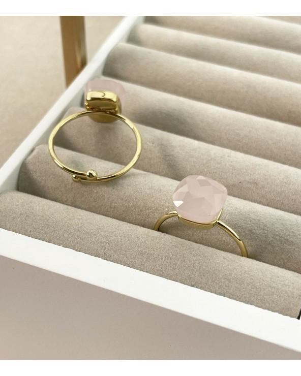 Bague pierre naturelle (quartz), en acier chirurgical - Bijoux tendance femme - Paloma Bijoux