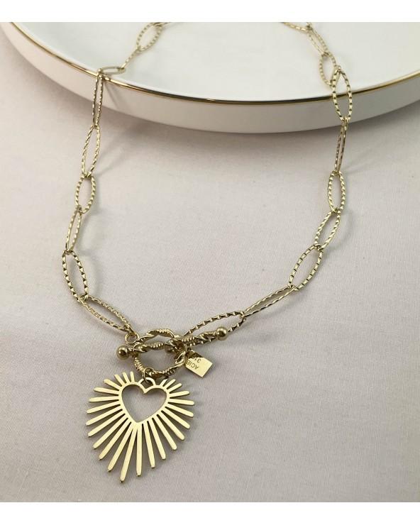 Collier fermoir pendentif coeur, acier chirurgical 316L - Bijoux tendance - Paloma Bijoux