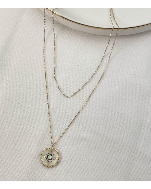 Collier verre & amazonite - acier chirurgical - Paloma Bijoux - Bijoux tendance
