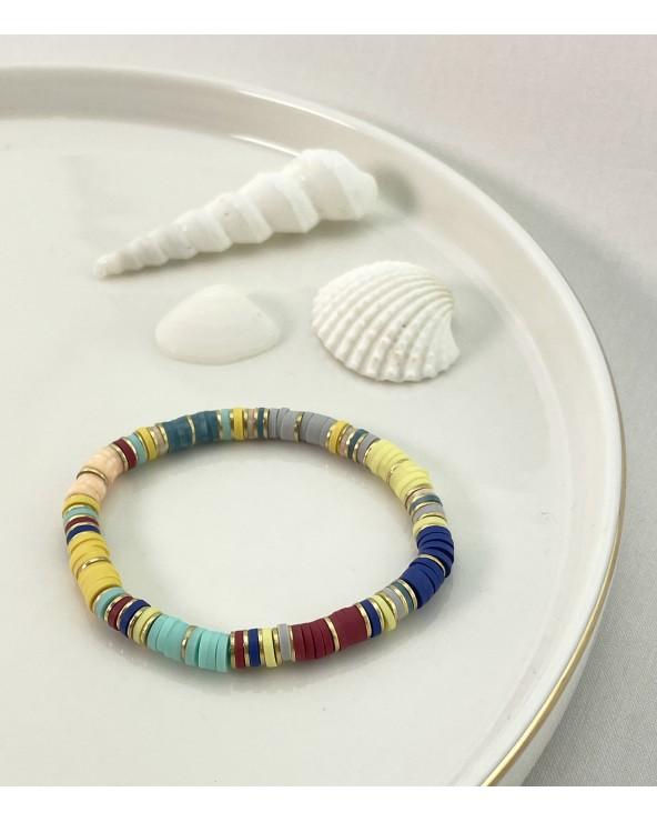 Bracelet summer 2021 - Tendance - Paloma Bijoux - Perles heishi - Style surfeur - Bracelets colorés - Acier