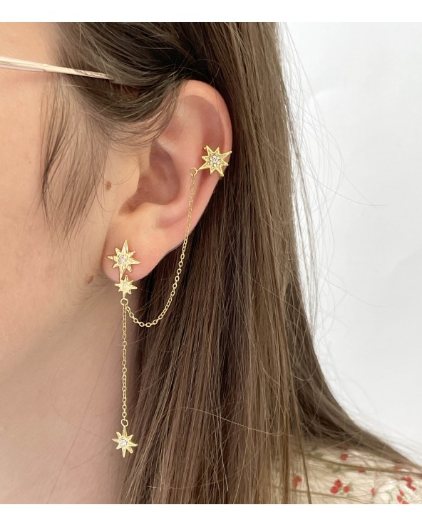 Mono boucle d'oreille hélix - faux piercing - bijoux tendance - acier chirurgical 316L