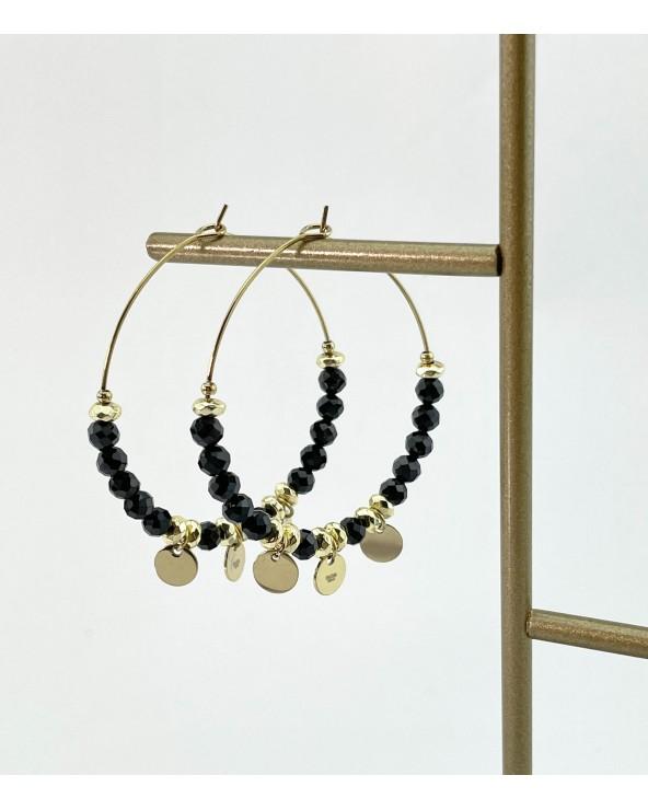 Boucles d'oreilles créoles - pierres naturelles - bijoux tendance - Paloma Bijoux