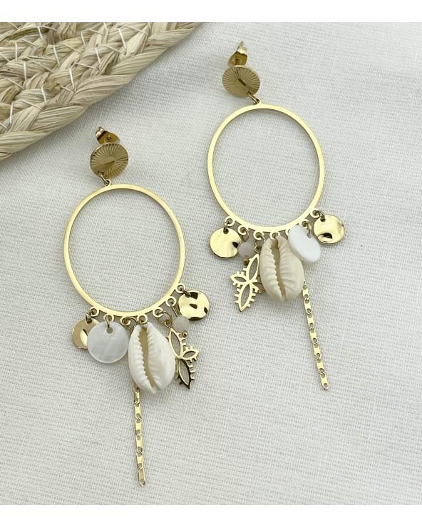 Boucles d'oreilles - Coquillage - Acier chirurgical 316L - Paloma Bijoux