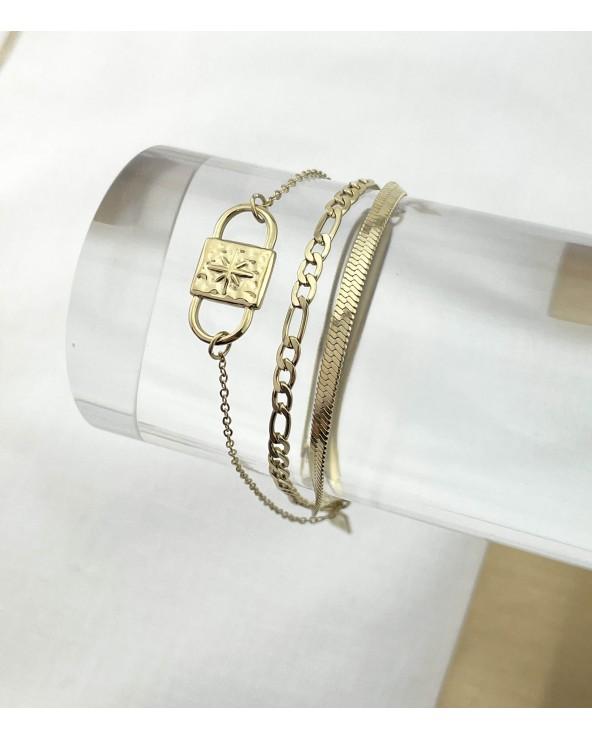 Bracelet multirangs en acier chirurgical 316L - Bijoux tendance - Paloma Bijoux