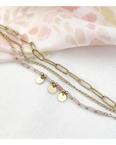 Bracelet multirangs - Quartz Rose - Acier chirurgical - Paloma Bijoux