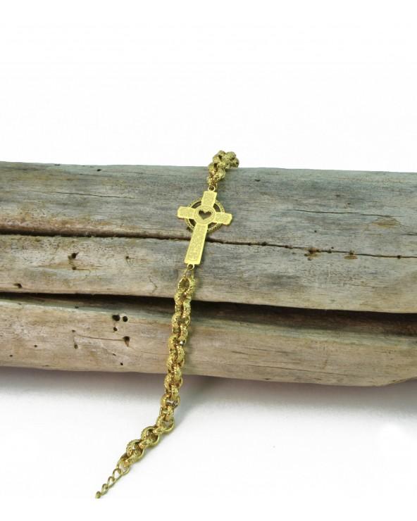 Bracelet en croix et grosse maille en acier doré à l'or fin 18K