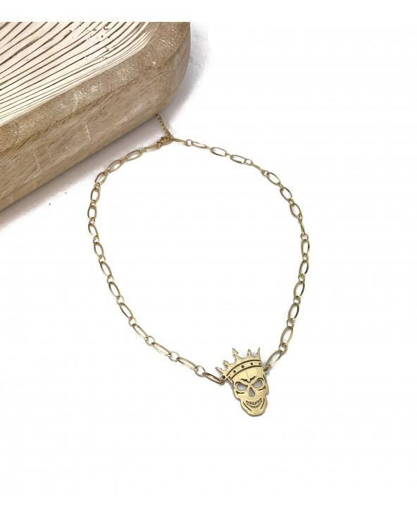 Collier maille et pendentif tête de mort est couronne doré à l'or fin 18K