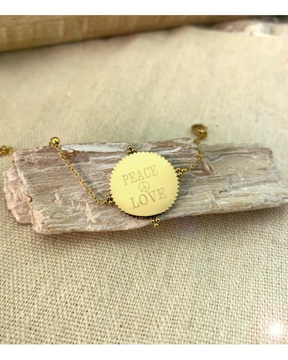 Bracelet médaillon à graver et personnaliser doré