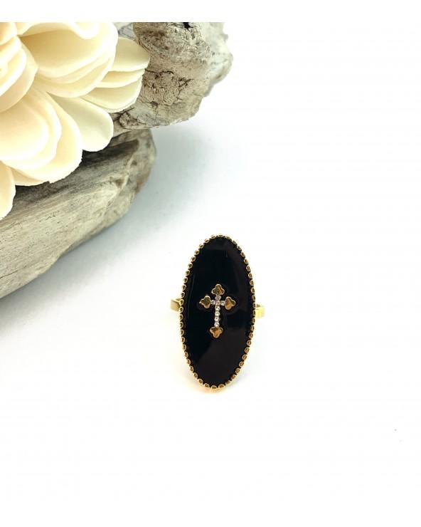 Bague longue noire : motif croix