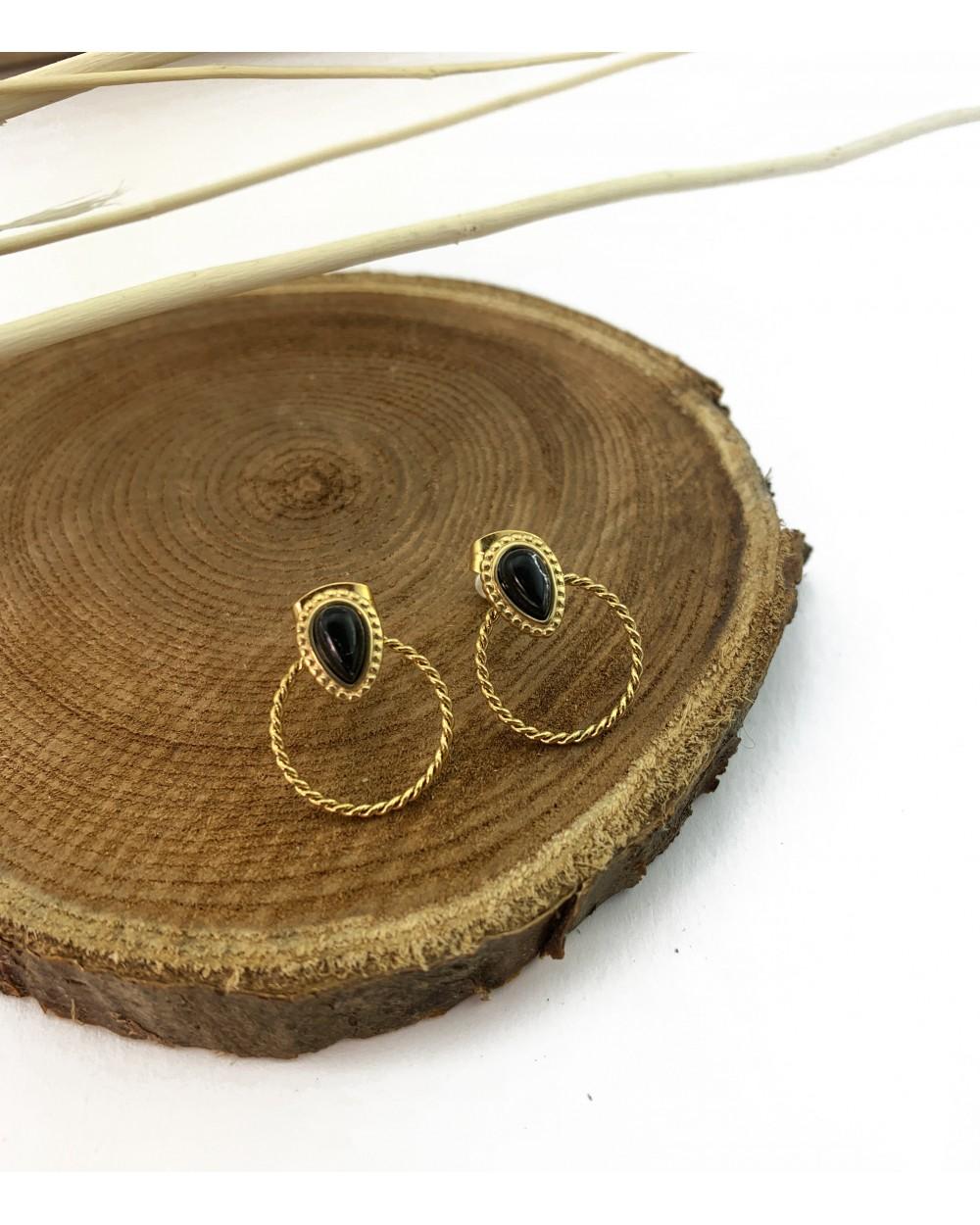 Boucle d'oreille - ronde & pierre naturelle tendance