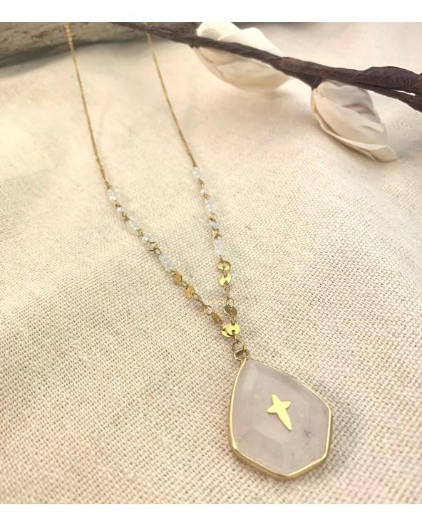 Pierre naturelle quartz - doré à l'or fin 18K