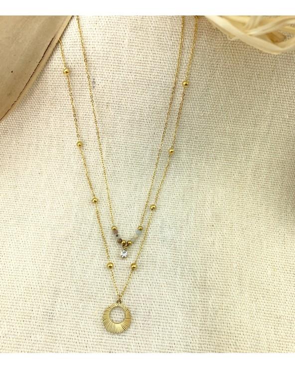 Collier 2 rangs - petites perles et pendentifs - Doré à l'or fin 18K