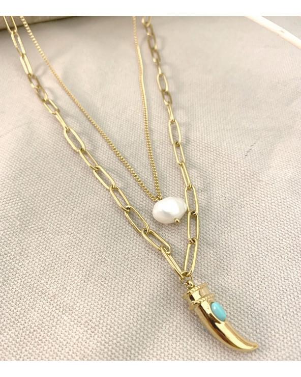 Collier 2 rangs - pendentifs dent & pierre blanche - Acier doré à l'or fin 18K.