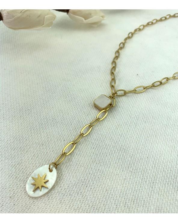 Collier doré à l'or fin 18K à maillons - 2 pendentifs Mother of Pearl