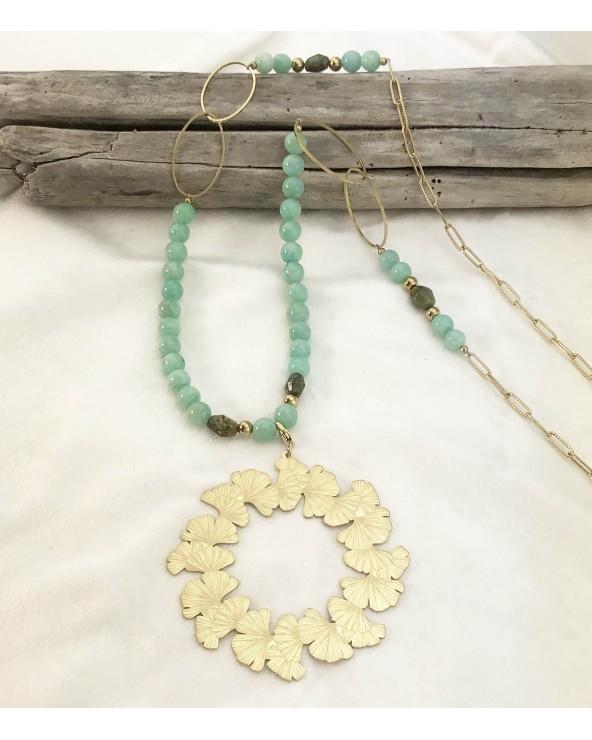 collier pierres naturelles - amazonite et african turquoise