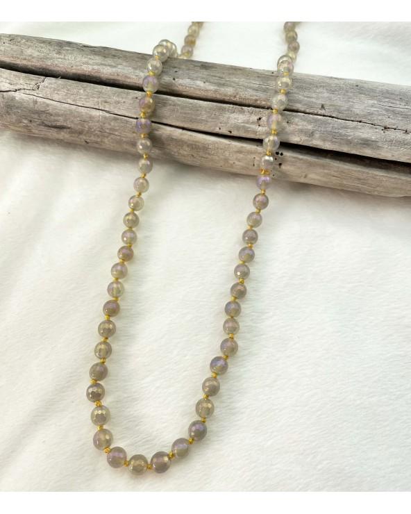 Sautoir pierres naturelles - Agate plaquée dorée