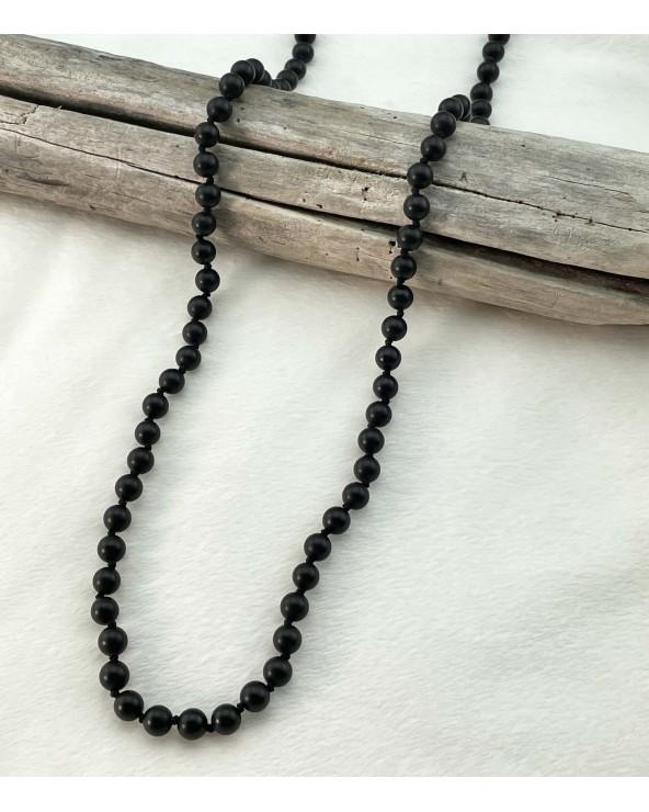 Sautoir pierres naturelles - Onyx noir mat