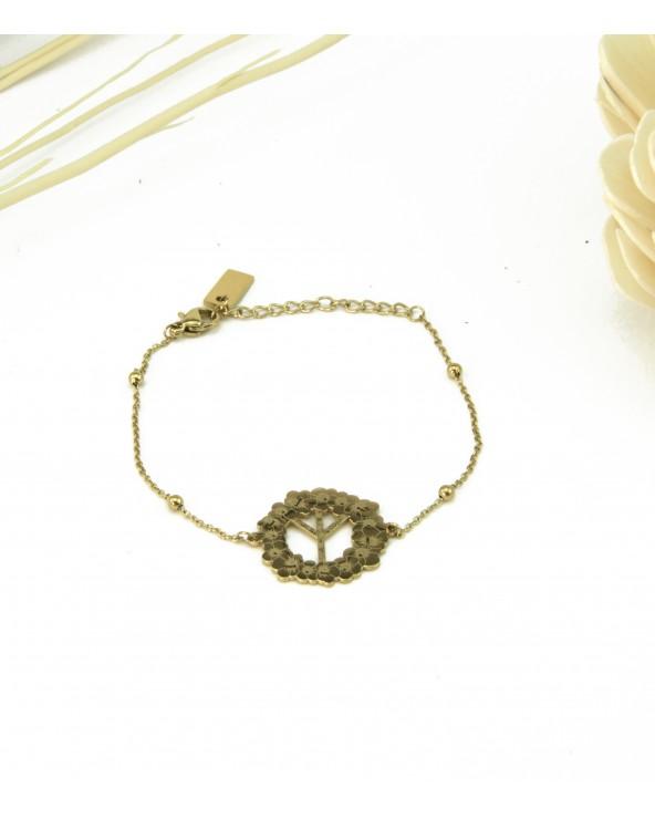 Bracelet Peace en acier 316L doré à l'or fin 18K