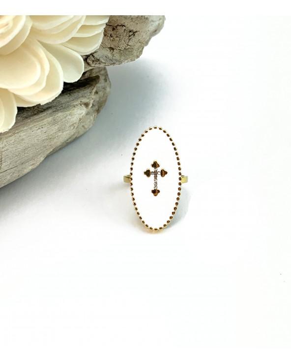 Bague longue blanche : motif croix