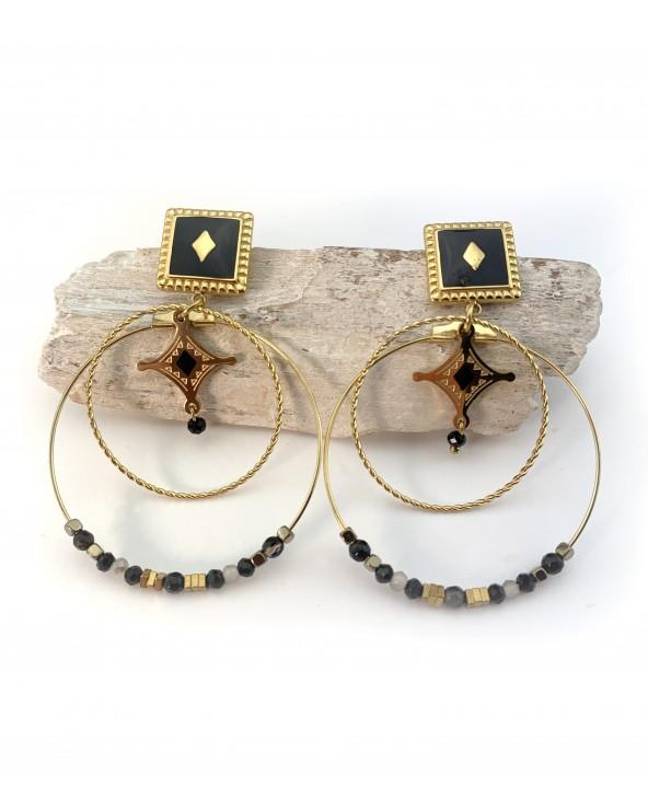 Boucles d'oreilles  cercles noires